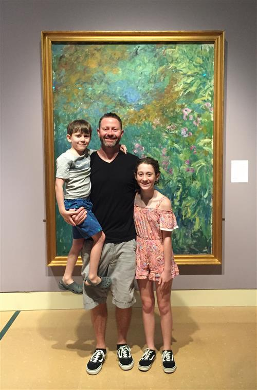 My kids and I in front of a Monet painting at the MS Museum of Art.