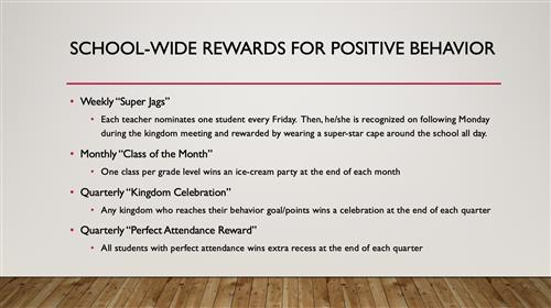 School-Wide Rewards for Positive Behavior