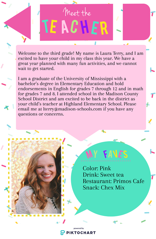 Welcome to third grade! My name is Laura Terry, and I am excited to have your child in my class this year.