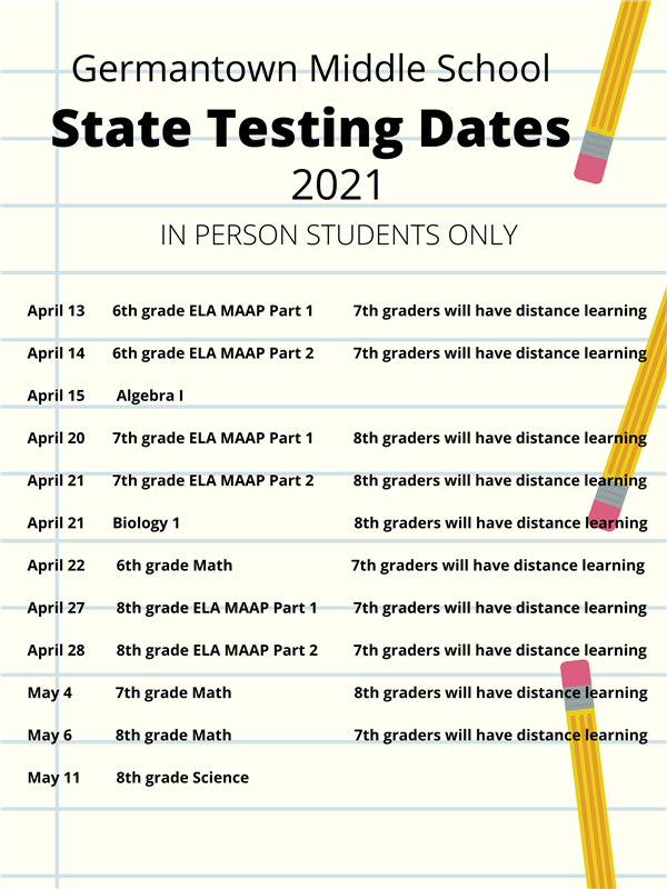 MAAP State Testing Schedule